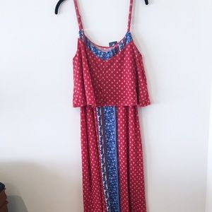 Pink Rose Patterned Maxi Dress